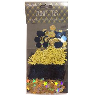 Mix 4 déco confettis or noir et bleu