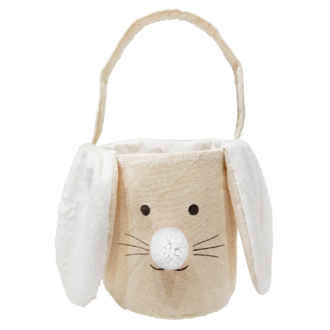 Panier tête de lapin lin oreilles blanches en velours