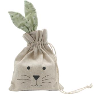 Pochette lapin en jute oreilles vertes 13,5 x 26,5cm