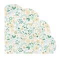 12 serviettes fleurettes vertes forme fleur