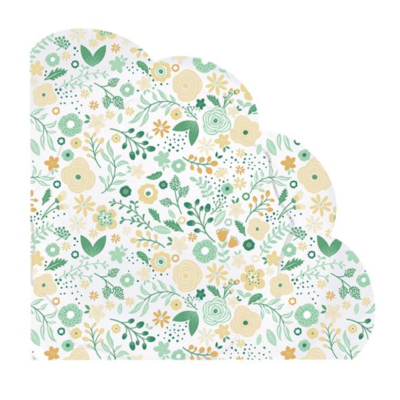 Achat en ligne 12 serviettes fleurettes vertes forme fleur
