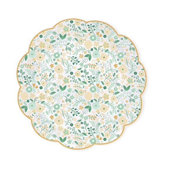 8 assiettes forme fleur fleurettes vertes 26 cm