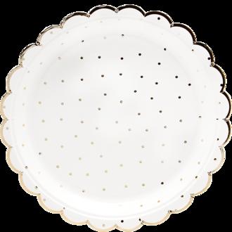 8 assiettes forme fleur pois et liseret or 18 cm
