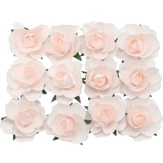 12 roses décoratives nude D4 cm