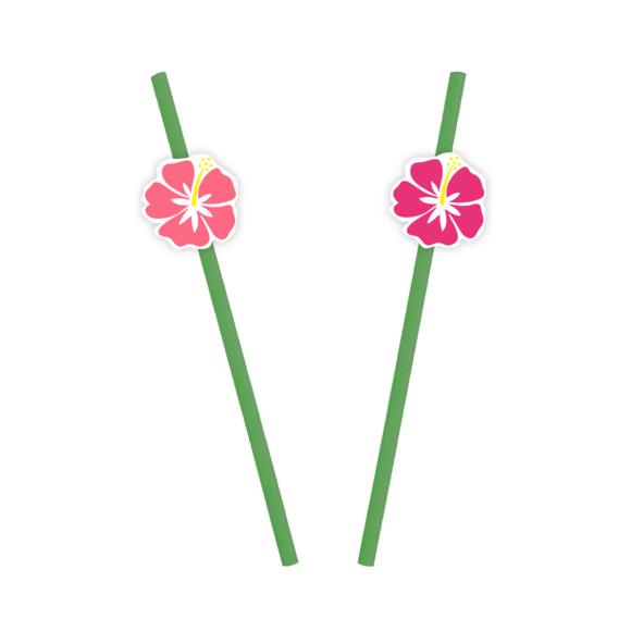10 Pailles et stickers fleurs o'hibiscus