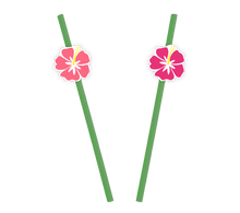 Achat en ligne 10 Pailles et stickers fleurs o'hibiscus