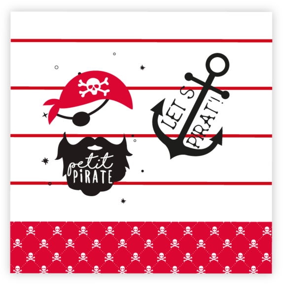 20 Serviettes petit pirate 33x33cm
