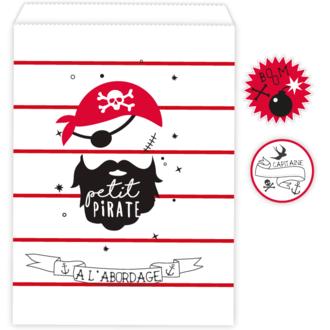 10 Sachets bonbons petit pirate et stickers