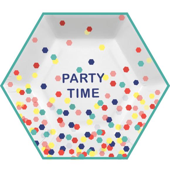 Achat en ligne 8 Assiettes party time 21,5 x 19cm