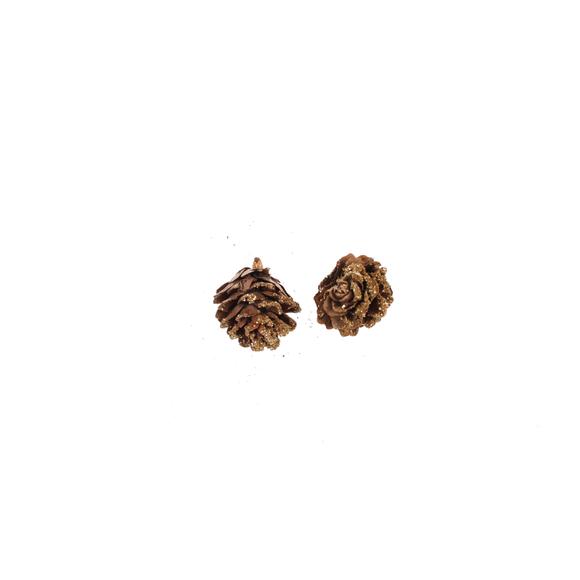 Sachet mini pommes de pin paillettes or 1,5cm
