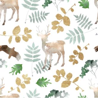 20 serviettes motif forêt 33x33cm