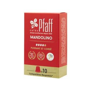 CAFÉS PFAFF - Boîte de 10 capsules mandolino compatibles Nespresso 250g