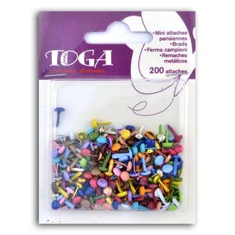 TOGA - Lot de 200 mini attaches parisiennes unies colorées
