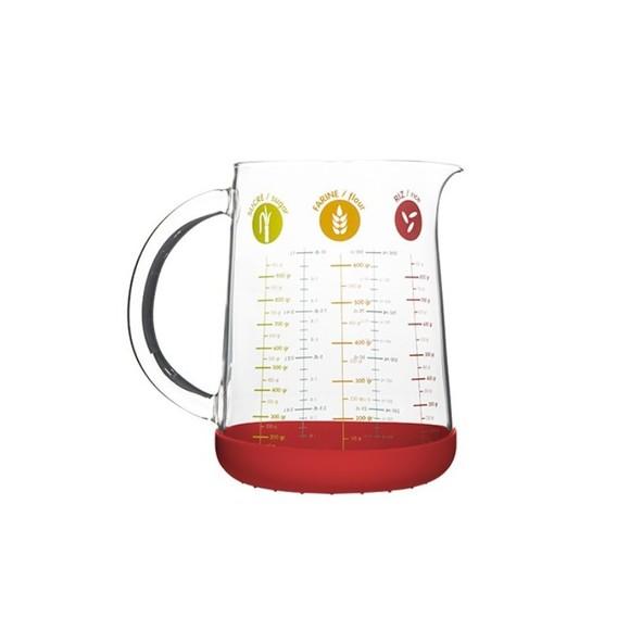 Bicchiere misuratore in vetro con base in silicone da 1L