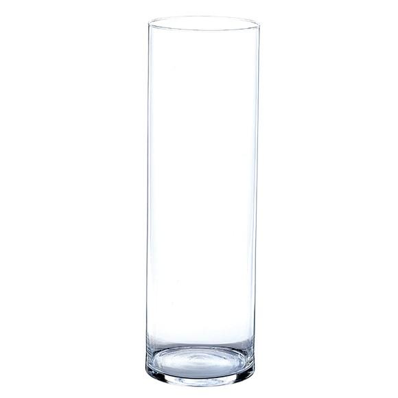 Grand vase cylindrique en verre transparent 19x60cm