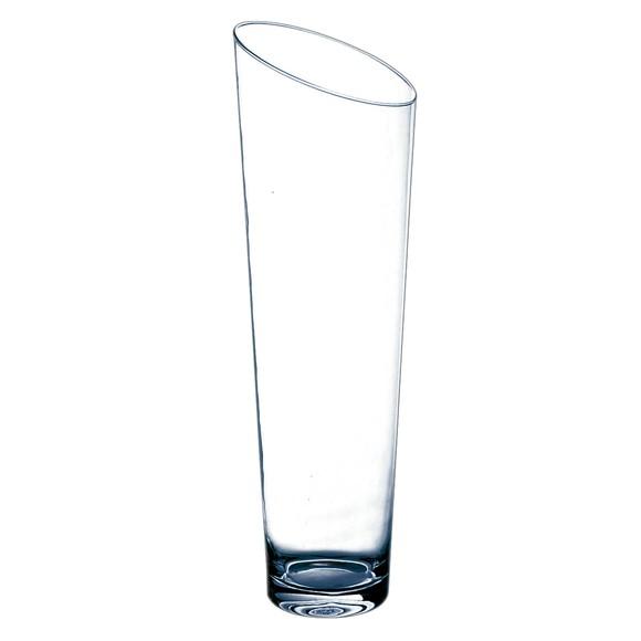 Grand vase conique en verre transparent Slicy H60xØ18cm
