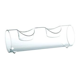 Support bougie 2 chauffe-plats tube en verre