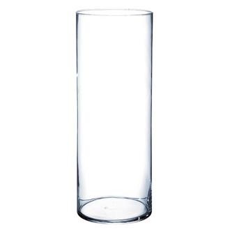 Vase cylindrique en verre transparent 40x15cm