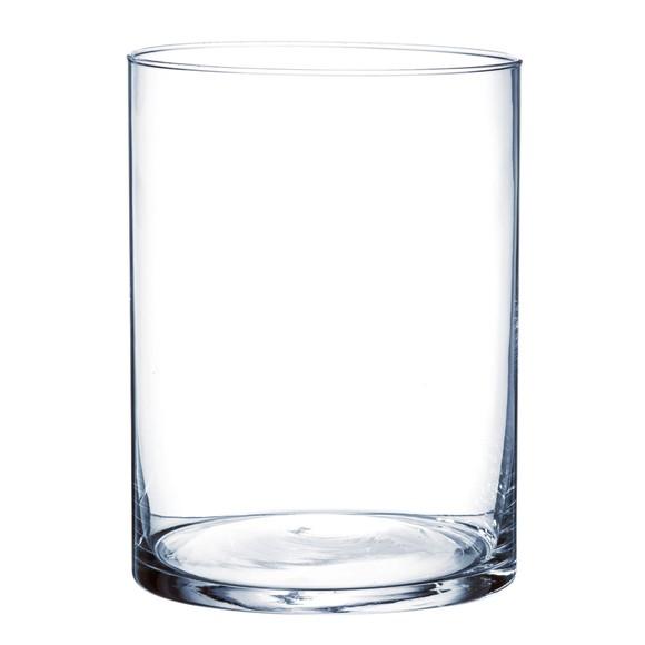 Vase cylindrique en verre transparent 20x15cm