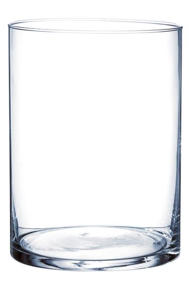Achat en ligne Vase cylindrique en verre transparent 20x15cm