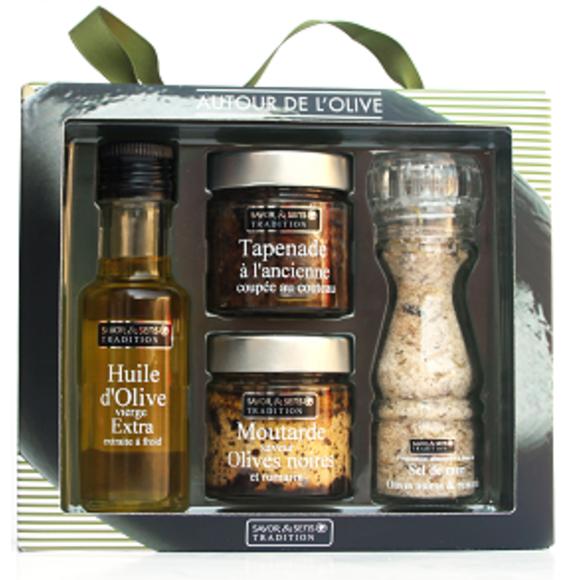 Coffret autour de l'olive huile sel moutarde et tapenade