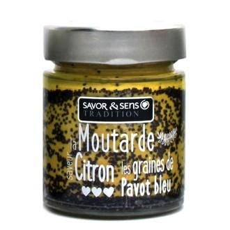 SAVOR & SENS - Moutarde saveur citron et graines de pavot bleu 130g