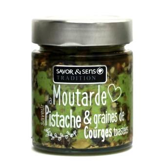 SAVOR & SENS - Moutarde saveur pistache et graines de courge toastées 130g