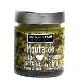 SAVOR & SENS - Moutarde au thé matcha et graines de chia 130g