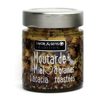 SAVOR & SENS - Moutarde au miel d'acacia et 8 graines toastées - 130g