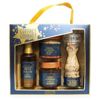 Coffret 4 produits huile, terrine, confit, sel bleu gourmet