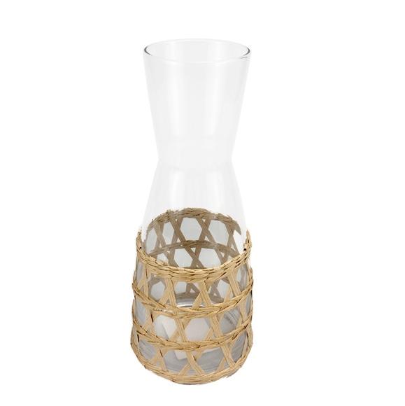 Achat en ligne Carafe en verre avec raphia naturel