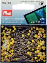 Achat en ligne Epingles tête de verre extra-longues jaune en boîte 20g