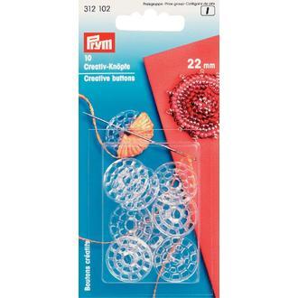 ECLAIR PRYM - 10 boutons créatifs en plastique transparent diamètre 22mm