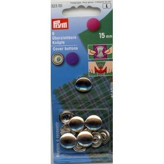 ECLAIR PRYM - 5 boutons à recouvrir en inox diamètre 11mm