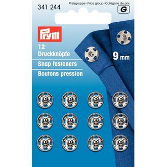 ECLAIR PRYM - 12 boutons pression à coudre en laiton argenté diamètre 9mm
