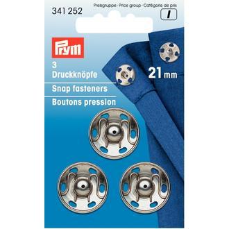 ECLAIR PRYM - 3 boutons pression à coudre argentés en laiton inoxydable diamètre 21mm