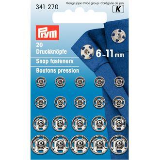 ECLAIR PRYM - 20 boutons pression à coudre argentés en laiton inoxydable diamètre 6mm à diamètre 11mm