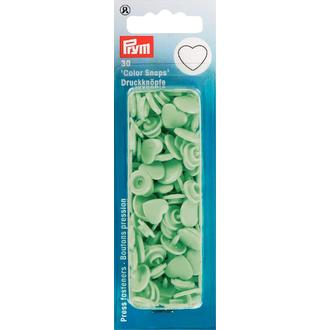 ECLAIR PRYM - 30 Boutons pression - Cœurs verts menthe