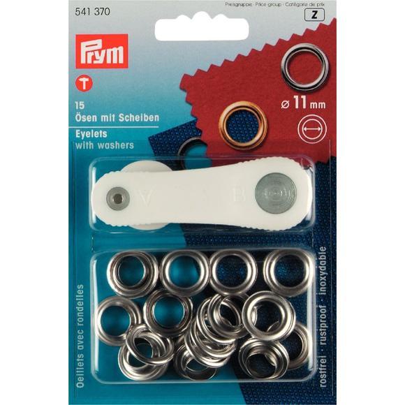 Set de 15 œillets avec outil de pose argenté en boîte 11mm