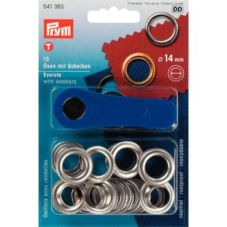 ECLAIR PRYM - Set de 15 œillets avec outil de pose argenté en boîte 14mm