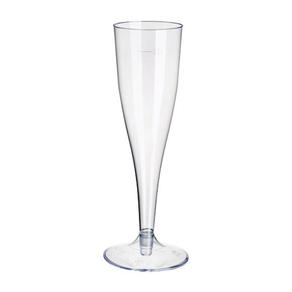 Paquet 10 verres à mousseux sur pied transparent