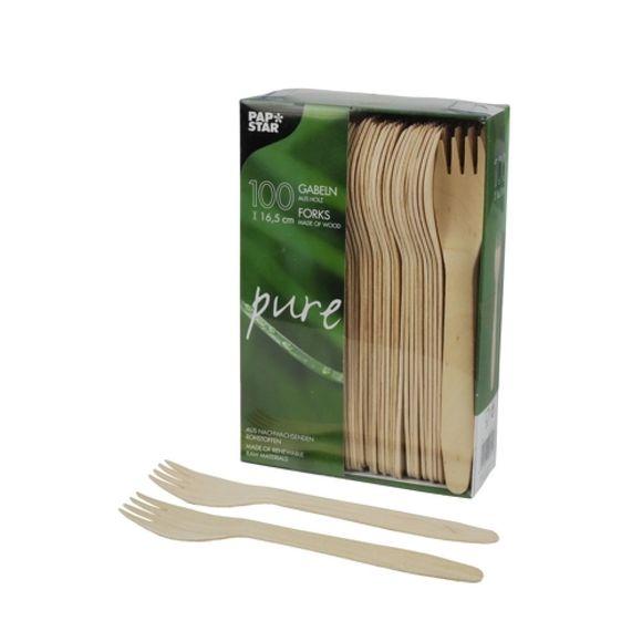 Set 100 fourchettes jetables en bois 16,5cm