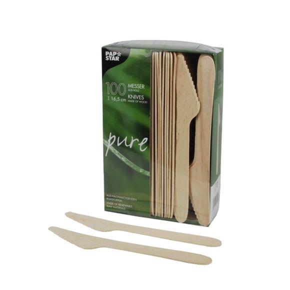 Achat en ligne Set 100 couteaux jetables en bois 16,5cm