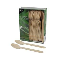 Achat en ligne Set 100 cuillères jetables en bois 15,7cm