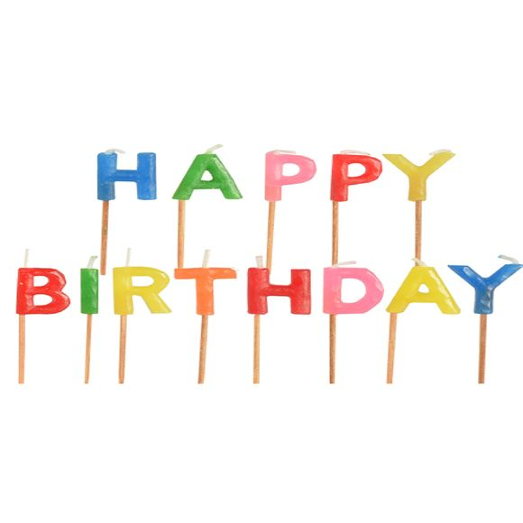 Bougie lettres happy birthday à piquer 8cm