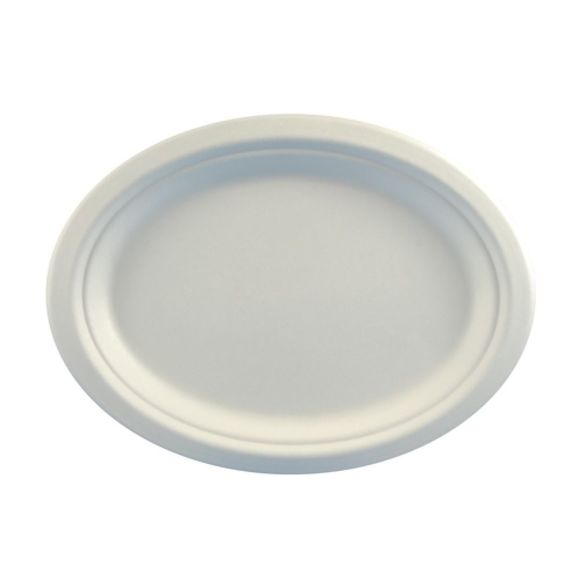 Achat en ligne Paquet de 50 assiettes en sucre de canne ovale blanc 29x20cm