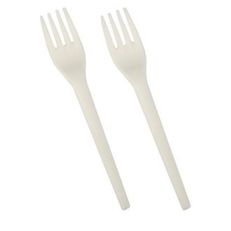Set 12 fourchettes jetables bio en plastique blanc