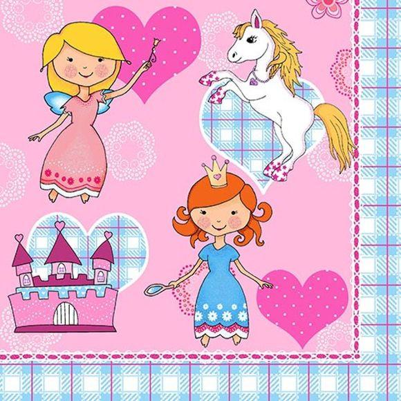 Paquet de 20 serviettes princesse dream 33x33cm