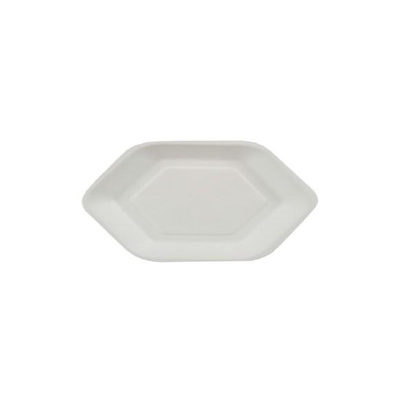 Achat en ligne 50 assiettes hexagonales en fibre de canne à sucre blanche