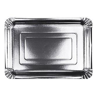 10 assiettes rectangulaire en carton argent 24x33cm